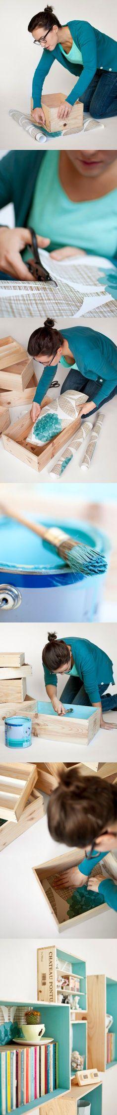 Estantería pintada y forrada - woonblog.be - DIY Floating Box Shelves