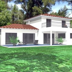 A contemporary house in Provence - Build your house - - Provence, Build Your House, Building A House, Basement Bar Designs, Dream House Plans, Stone Houses, Architect Design, House In The Woods, Planer