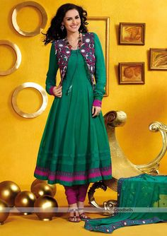 Pakistani Style Green Anarkali Suit | Beautiful green anarkali pattern salwar kameez   | Full length kameez with sleeves   | Attractive embroidered jacket with tassel |   Specialty: Cut work jacket | $120.00 | http://goodbells.com/salwar-suits/pakistani-style-green-anarkali-suit.html