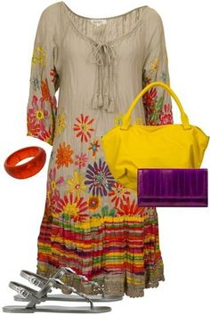 Floral outfit and bright accessories make a perfect match under the summer heat. www.pakiza.co.in