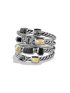 David Yurman Confetti Ring with Black Onyx, Black Diamonds and Gold