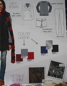 Materials that drive the Rocker trend are flannel, mesh, mohair (love this coat), mixed media, sheer knits, vintage denim, chiffon, leather, vinyl, colored fur, and patchwork denim. Patterns are atmospheric, with moody landscapes, monochromatic plaids, photoreal imagery, and abstract animal styles rounding out the tough mix.