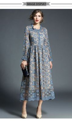 H Han Queen New Women Lace Dress Crochet . - - H Han Queen New Women Lace Dress Crochet Flower Hollow Out Long Sleeve Vestido Elegant Work Casual Slim Vintage Party Maxi Dresses-in Dresses from Wom. Trendy Dresses, Casual Dresses, Maxi Dresses, Party Dresses, Dress Outfits, Evening Dresses, Hijab Dress Party, Fall Outfits, Hijab Fashion
