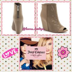 """Juicy Perforated Peep-Toe Hidden Wedge Shooties NWT Juicy Couture light brown perforated peep-toe hidden wedge shooties will lift your look to couture! FEATURES: Hidden wedge, Perforated front, Zipper back, peep toe, padded footbed. Microfiber upper, manmade lining, TPR outsole. 4"""" Heel Sizes Available: 8, 8.5, 9.5 ✅Bundle Discounts✅Reasonable Offers✅Offer Button✅❌Trades❌ Juicy Couture Shoes Ankle Boots & Booties"""