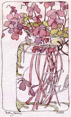 "Daily Paintworks - ""Rooting Oxalis in Ball Jar, Color Scheme Game"" - Original Fine Art for Sale - © Chris Carter Watercolor Sketchbook, Watercolor Artwork, Art Sketchbook, Watercolor And Ink, Watercolor Flowers, Illustrations, Illustration Art, Wow Art, Pics Art"