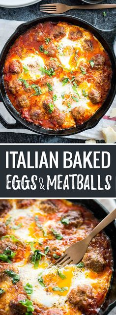 These Italian Baked Eggs and Meatballs are the BEST comfort food! A delicious, easy brunch dish that makes a great satisfying dinner, too.