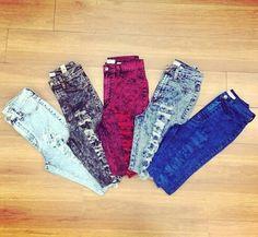 High-waisted acid wash jeans