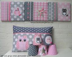 set uilen roze grijs sterren , gemaakt voor Marcella
