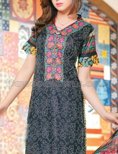 Buy Black Printed Cotton Lawn Salwar Kameez by Harma Classic Lawn Vol. 1, 2015.