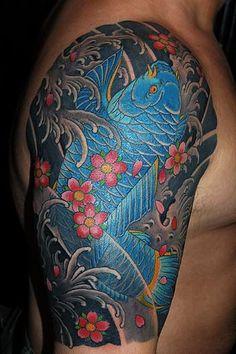 Choosing the Right Water Tattoo Designs: Traditional Japanese Koi Fish Tattoo ~ tattooeve.com Tattoo Design Inspiration