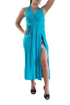 Blue Teal Maxi Dress With Zebra Peek-A-Boo!