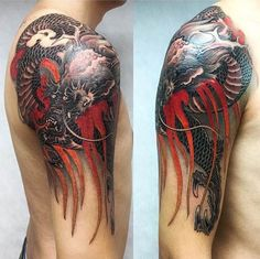 Dragon Tattoo by Xiaodong Zhou. #inked #inkedmag #tattoo #dragon #art #idea #color #sleeve