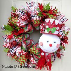 Deluxe RAZ Frosty Hat Snowman Christmas Holidays Chevron Candy Indoor Outdoor Wall, Door Deco Mesh Seasonal Gift Wreath! by NicoleDCreations on Etsy https://www.etsy.com/listing/249124786/deluxe-raz-frosty-hat-snowman-christmas