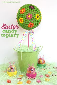 Easter Centerpiece: Candy Topiary Tutorial {TheNewlywedPilgrimage.com} #shop #tutorial #eastercrafts #springcrafts #easter #candycrafts #VIPFruitFlavors