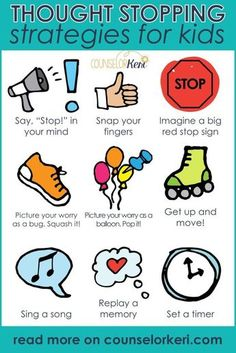 Help kids practice these 9 thought stopping strategies. Teach them in classroom guidance, small group, or individual counseling! Help your kids manage worries with these thinking strategies and coping skills for worry. Kids Coping Skills, Coping Skills Activities, Social Skills Lessons, Counseling Activities, Therapy Activities, Life Skills, Group Counseling, Social Activities, Anxiety Activities