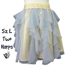 7890c2a4eaf Details about Two Harps Tiered Tulle Skirt Sz L Gold and Silver Mini Soft  Wide Elastic Waist