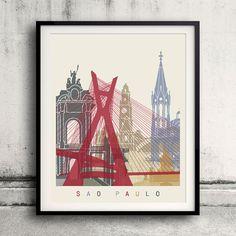 Sao Paulo skyline poster  Fine Art Print Glicee by Paulrommer
