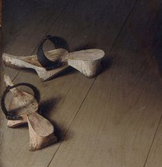 c1434  Wooden Pattens Detail from the Arnolfini Wedding Portrait, Jan van Eyck