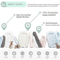 Did you know the DockATot baby lounger / portable baby bed has been safety tested beyond any other baby sleeping product on the market?  Both mattress pad and bumper have great air-permeability and comply with BS4578.