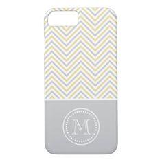 Monogram Chevron Gray Gold Modern iPhone 7 Case - monogram gifts unique design style monogrammed diy cyo customize