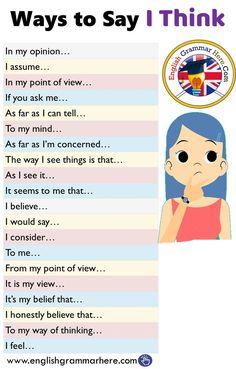 English Ways to say that I think - English grammar here - # think . - English Ways to say that I think – English grammar here – # think - Essay Writing Skills, Book Writing Tips, English Writing Skills, Writing Words, English Lessons, Spanish Lessons, French Lessons, English Communication Skills, Writing Workshop