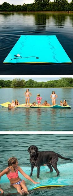 Unroll this 17ft x 6ft dual-layer floating pad to create your own buoyant personal island on your next lake or pool adventure. Kick back, tan, or use as a resting point for any number of water activities. The Neptune's Island by Aqua Lily Products offers plenty of room for the whole family (including pets) to get wet and cool off in a safe and comfortable environment.