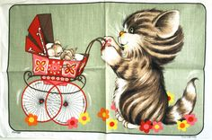 Dunmoy Cat & Mouse Tea Towel  Kitsch Kitten Flower by FunkyKoala