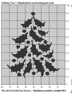 Filet Crochet Holiday Tree - Pattern by Teresa Richardson Chain Chain 3 to . - Filet Crochet Holiday Tree – Pattern by Teresa Richardson Chain Chain 3 to to turn which wil - Xmas Cross Stitch, Cross Stitch Christmas Ornaments, Christmas Embroidery, Christmas Cross, Cross Stitch Charts, Cross Stitch Designs, Cross Stitching, Cross Stitch Embroidery, Cross Stitch Patterns