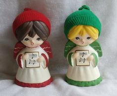 CyberMonday sale! Save $10 off of any order $30 or more, for a limited time today only. Use coupon code: CYBERMONDAY2015  Vintage Christmas Caroler Angel Girls in Knit Caps
