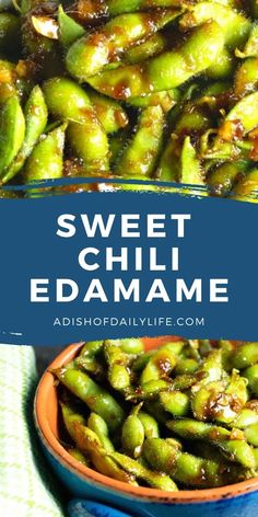 Sweet Chili Edamame is an easy and healthy appetizer or snack...deliciously addicting!