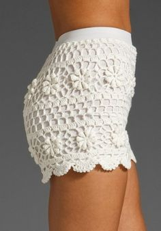 Crochet Swimwear Awesome shorts at Revolve Clothing Shorts Tejidos A Crochet, Crochet Pants, Crochet Skirts, Crochet Clothes, Crochet Lace, Short Tejidos, Bikinis Crochet, Crochet Fashion, One Piece Swimwear