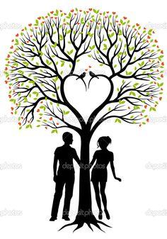 пара с сердце дерево, Векторный фон - Стоковая иллюстрация: 10063799