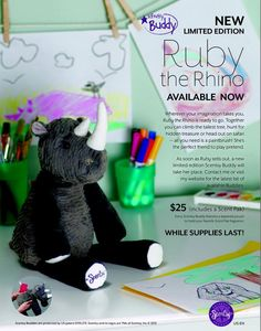 Scentsy Ruby the Rhino Buddy! Available NOW! Just in time for Easter! #rhino #jungle #ruby #iamwickless www.iamwickless.com