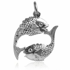 Pisces the Fish Charm. Available in 925 sterling silver or gold | Silver Star Charms #theworldinminiature