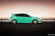 Very Fresh Mazda. Never thought i'd say this to a Hatchback of this style Mazda Hatchback, Mazda 3 Hatch, Mazda Mps, Slammed Cars, Cool Sports Cars, Car Goals, Car Photography, Car Manufacturers, Custom Cars