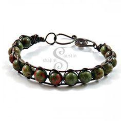 Unakite Wire Weave Bracelet from Shalini Austin Designs, Handmade in Stamford UK