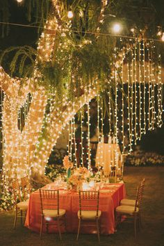Tablescape ~ hanging lights
