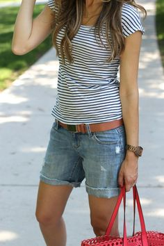 150 pretty casual shorts summer outfit combinations (32)