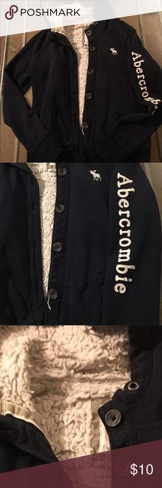 Abercrombie sweatshirt jacket szL navy blue Used but outside in great shape, lining is matted down abercrombie kids Jackets & Coats