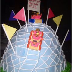 Roller coaster birthday cake.