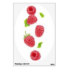 Falling raspberries wall sticker - vegan personalize diy customize unique