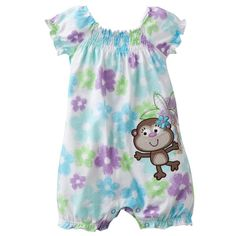 Jumping beans summer cotton kids baby girl infant short sleeve boxer rompers jumpsuits watercolor bodysuit flower