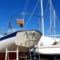 SV Azura - new lettering on the transom (April Sailing Ships, Fair Grounds, Boat, Lettering, Photo And Video, Videos, Travel, Instagram, Dinghy