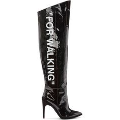 Off-White Black Patent 'For Walking' Over-the-Knee Boots (2,720 CAD) ❤ liked on Polyvore featuring shoes, boots, black, high heel stilettos, over the knee boots, thigh high heel boots, black stiletto boots and black boots