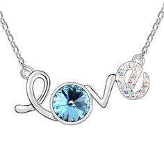 Swarovski Elements Round Shape Blue Crystal Love Pendant by Trendymela.com