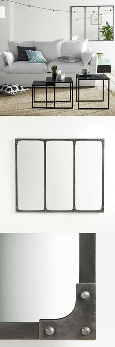Un miroir look industriel et aspect brut, en métal. Le miroir industriel Lenaig de La Redoute Intérieurs.