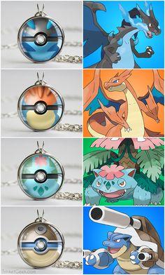 Pokemon Kanto starter mega pokeballs, Mega Charizard X & Y balls, Mega Venusaur ball and Mega Blastoise ball #kanto #geekery #treatsforgeeks