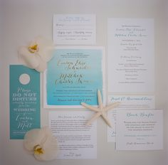 Nautical Aqua Ombre and White Invitation Suite