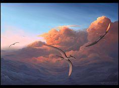 Sea of Clouds - Digital Prehistoric Creatures, Fantasy Art, Sunrise, Wildlife, Clouds, Sea, Jennifer Miller, Digital, Extinct