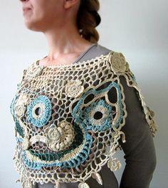 freeform crochet shawl